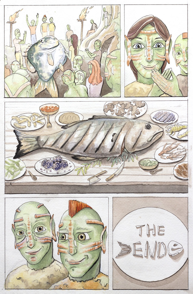 "Jason Bessler Turk & Tags Fishing Adventure Comic 11"" x 17"" Watercolor, Pen 2013"