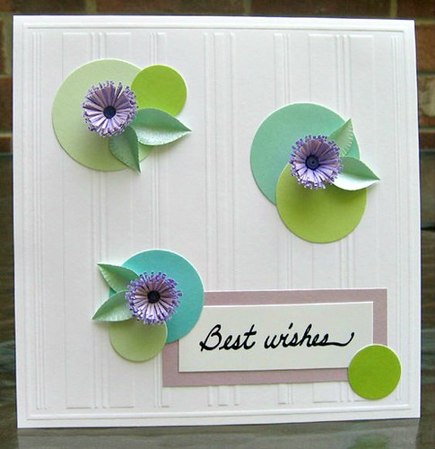 Best Wishes handmade card with fringed flowers and colored sticker dots