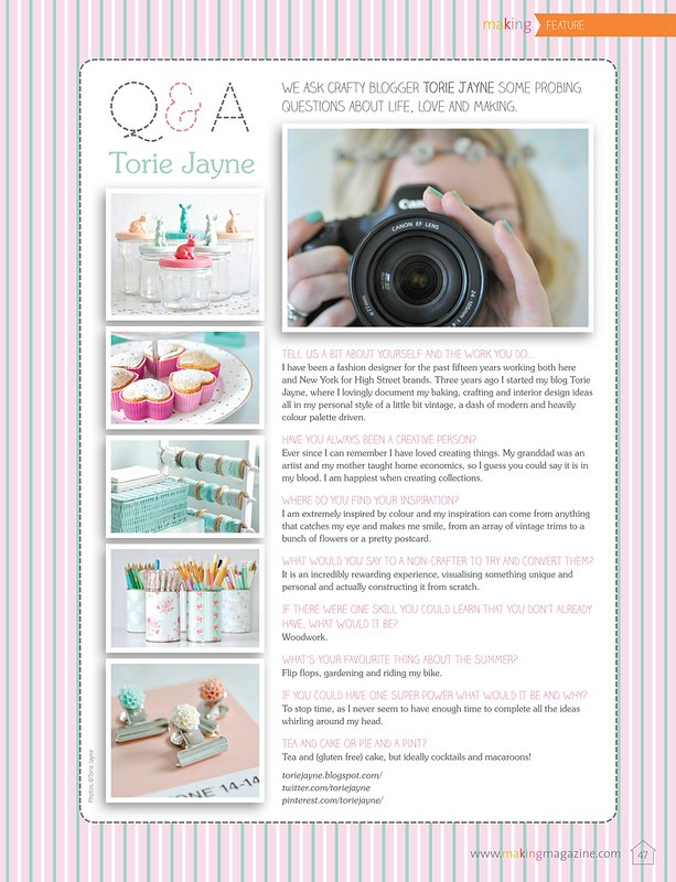 Q&A with TORIE JAYNE as seen in Making Magazine