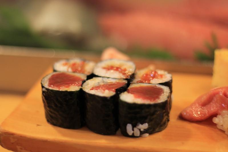 Ikura (roe) and akami rolls