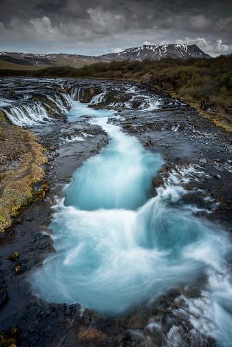 blue waterfall iceland foss montain islande suðurland malaussena