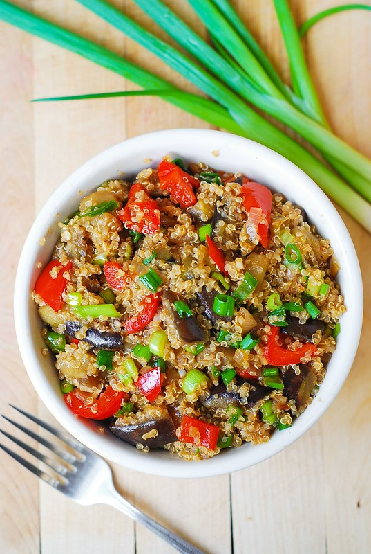 Spicy Asian eggplant, spicy Asian quinoa, gluten free recipes, gluten free meals, gluten free dinner, red bell pepper, Asian food, Asian recipes, Asian dinners