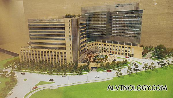 Scale model of Mount Elizabeth Novena Hospital