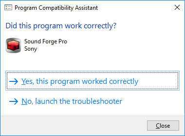the Shortcut of the Program Compatibility Assistant