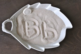 Writing Letters in Beach Sand Tray