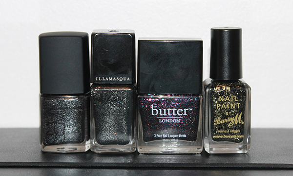 Nars Night Breed, Illamasqua Creator, Butter London The Black Knight and Barry M Gold Mine