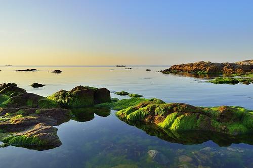 morning sea sky reflection beach water sunrise landscape nikon day korea clear busan nikkor d4 부산 청사포 kimjeonghyun