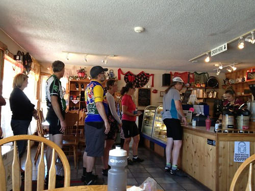Randos swarming Rosie's Mountain Coffee Shop (the turnaround)