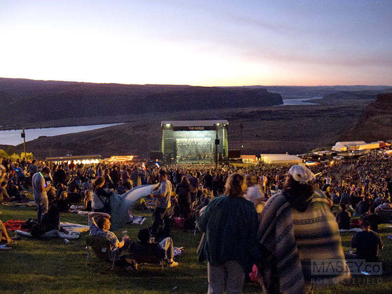 The masses start gathering on the edge of The Gorge, ready for the show.