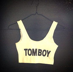 "A bra reading ""tomboy"""