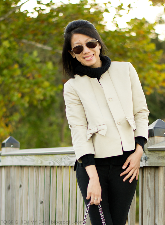 cowlneck sweater, cropped jacket