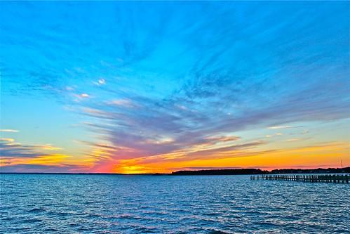 sunset night cloudy deweybeach