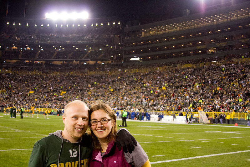 Sara and Patrick on Lambeau Field