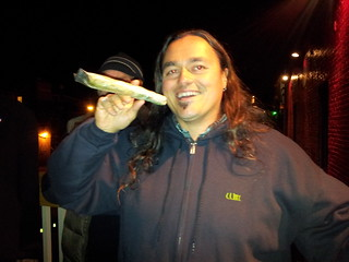 Will Neils lights up a joint in celebration of Question 1 in Portland. 2