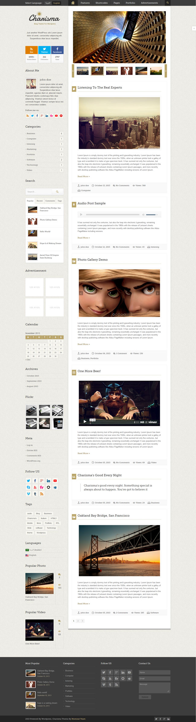 Charisma - Premium WordPress Blog Theme