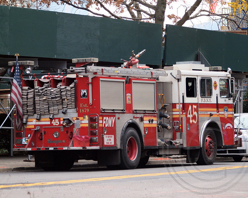 FDNY Engine 45 Fire Truck, Deadly Metro-North Passenger Train Derailment near the Spuyten Duyvil Station in the Bronx, New York City