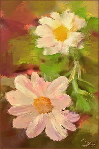 Image of Miniature Chrysanthemums painted in Corel Painter.