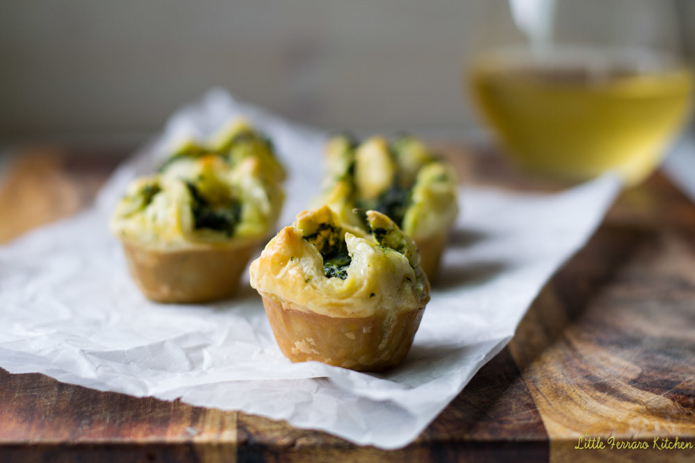 Spinach-Asparagus Mini Puff Pastry Bites via LittleFerraroKitchen.com