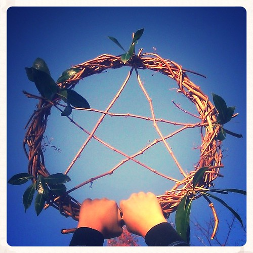 Homemade decoration for #Solstice and #Yule . #stars #pentacle #vine #wreath #laurel #bay #homemade #holiday #home #waldorf