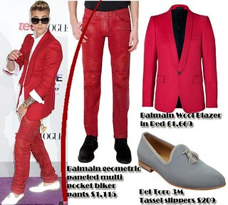 Men's red tuxedo blazer & red leather trousers