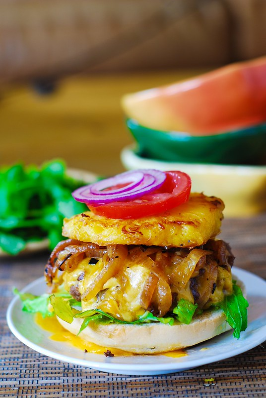 Hamburger with caramelized onions and grilled pineapple