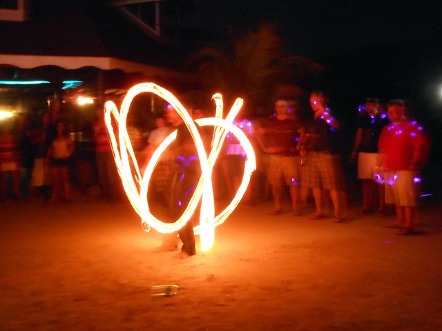 Fire dancer on Utila, Honduras