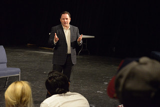 Actor Jason Alexander answers students' questions at Seaver Theatre in September 2013
