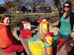 Sonia, Jessica, and I opening xmas presents in Pleasanton