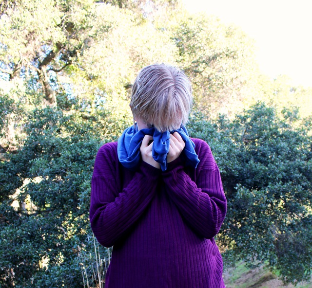 burying face in blue infinity scarf, purple sweater - OOTD 1/17/2014