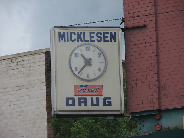 Sign of Micklesen Drug, Hudson, WI
