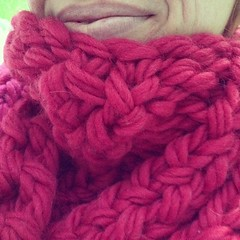 Wearing upcoming design prototype out on errands, pre- washing, blocking, photographing. Can't resist, it's so snuggly!