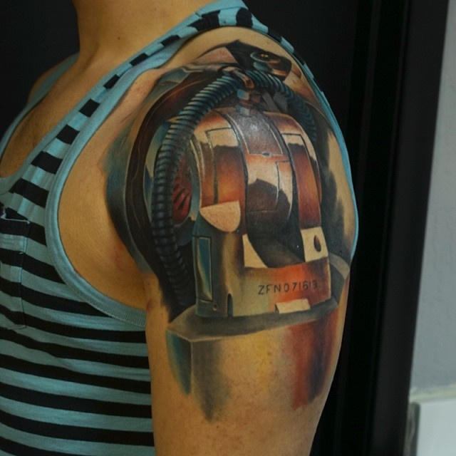 Finished the robotic shoulder piece tattoo biomech for Shoulder piece tattoos tumblr