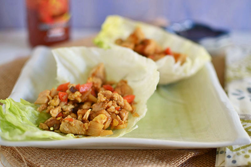 Spicy Asian Chicken Lettuce Wraps via LittleFerraroKitchen.com