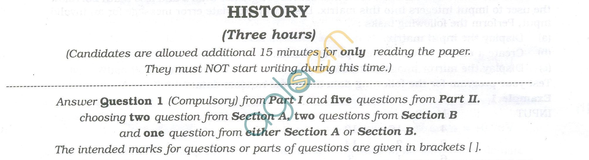 ISC Question Papers 2013 for Class 12 - History