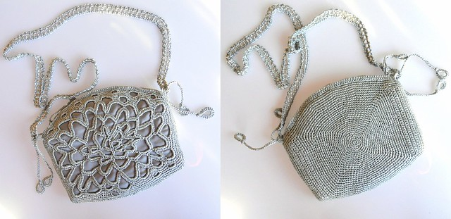 silver crochet lace bag