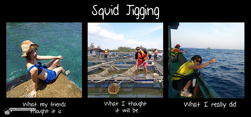 squid jigging collage
