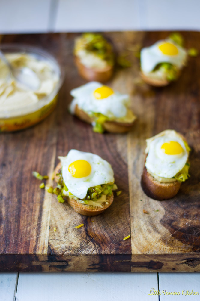 Hummus and Leek Crostini via LittleFerraroKitchen.com