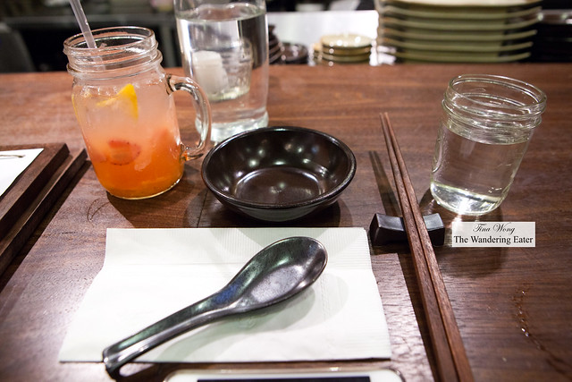 Place setting with my yuzu and strawberry iced tea