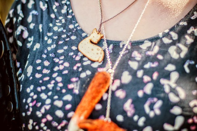 Katie from Coeurs de Foxes wearing my Deer Wood Charm Necklace 2