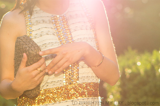 tweed + sequin dress, tweed clutch