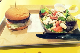 Mooyah veggie burger and side salad