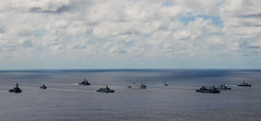 A multinational task force with ships from Brunei, Singapore, the People's Republic of China and the United States transits the Pacific Ocean in formation June 18 during a group sail from Guam to Pearl Harbor. (U.S. Navy/MC2 Brian T. Glunt)