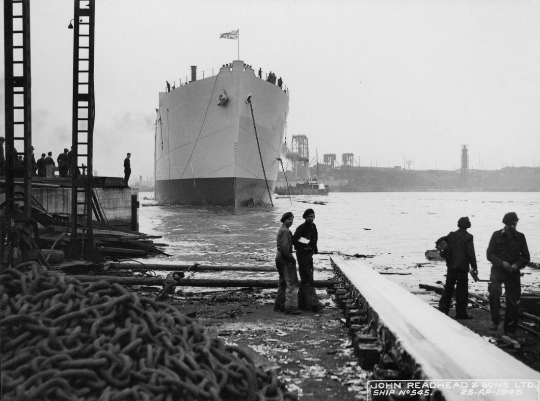 Launch of the cargo ship 'Empire Fawley'