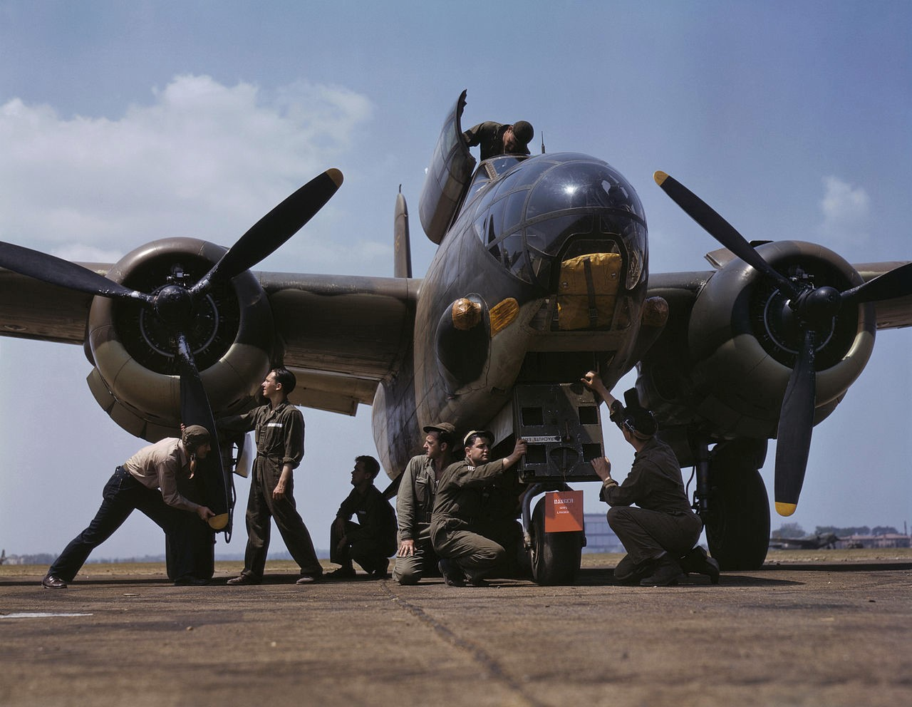 Servicing an A-20 bomber, Langley Field, Va