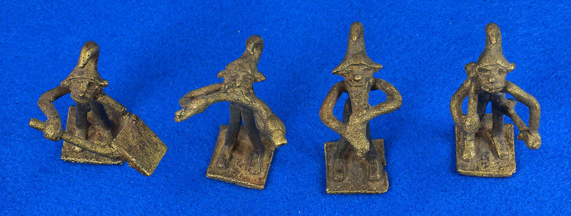RD14630 4 Vintage African Hand Made Folk Art Primitive Figurines Solid Cast Brass Burkina Faso Yoruba West Africa DSC07071