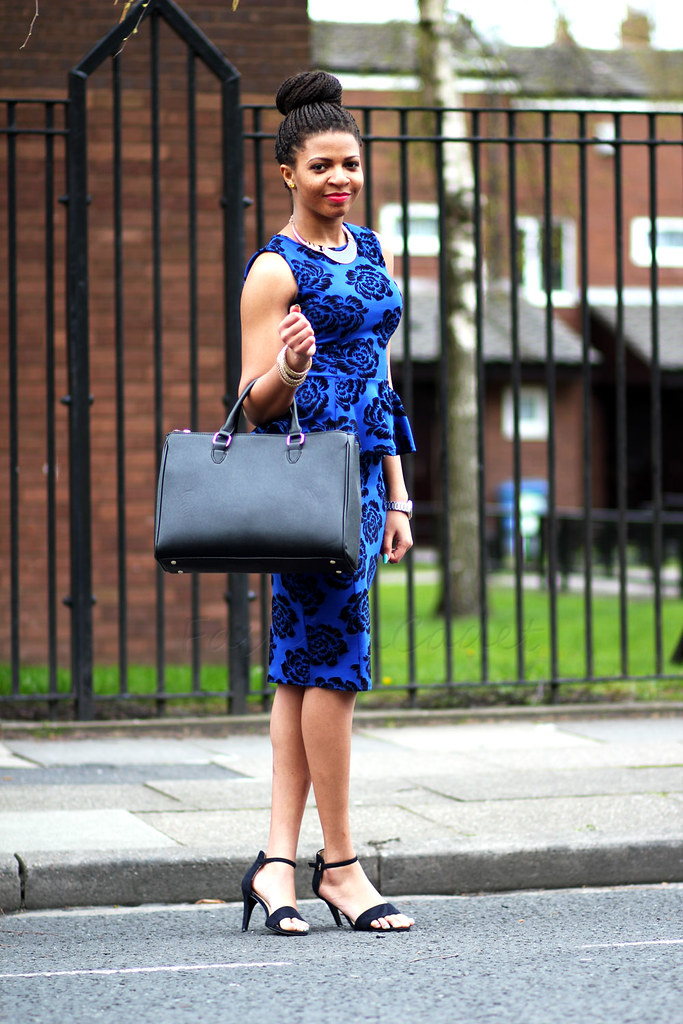 Blue velvet Peplum Top with a matching pencil Skirt