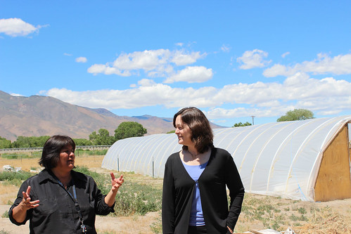 Pyramid Lake Paiute Tribal Administrator Della John, and USDA Office of Tribal Relations Director Leslie Wheelock (right) at a hoop house operated by the Tribe. USDA photo.