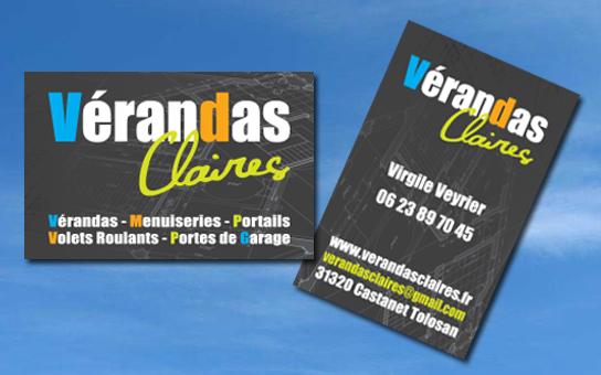 Création et impression des cartes de visites de la société Vérandas Claires à Castanet Tolosan (31). Finition mat avec vernis sélectif brillant.