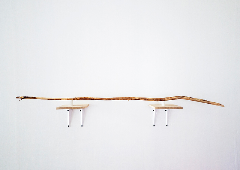 Walking stick (installation view), wood, duration12 hours, 2013.