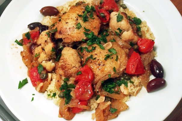 Braised Chicken With Peppers, Olives And Capers Recipe — Dishmaps